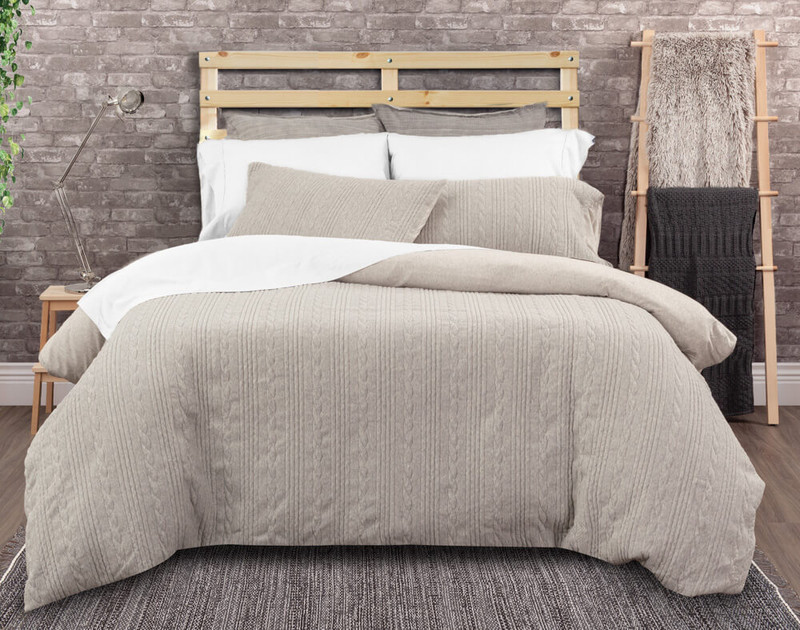 Estevan Duvet Cover Set features cable knit in a heathered grey.