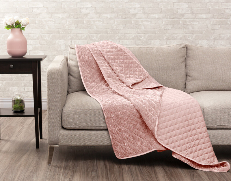 Velvet Throw in Blush on couch