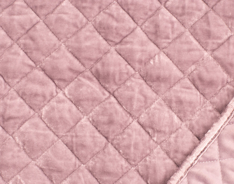 Velvet Throw in Blush close-up of main side and reverse