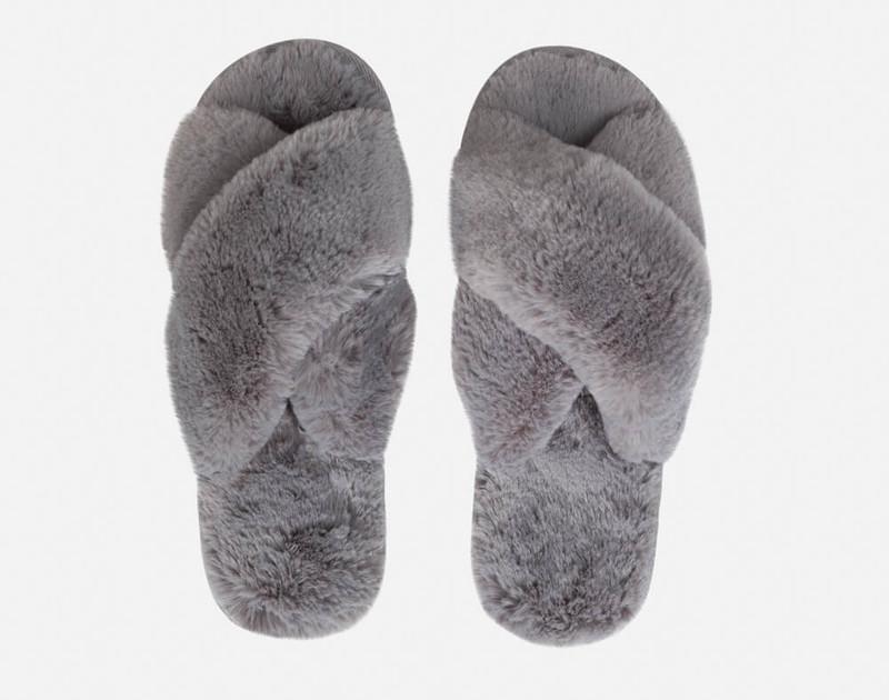 Rabbit Plush Slippers in Graphite
