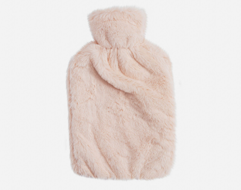 Faux Rabbit Plush Hot Water Bottle - Blush