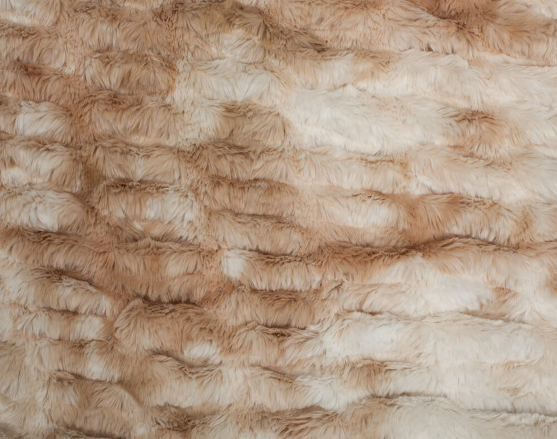 Close up of detail on Carved Faux Fur Throw in Caramel.