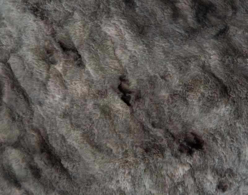 Carved Faux Fur Euro Sham in Pewter, a medium grey, texture close-up