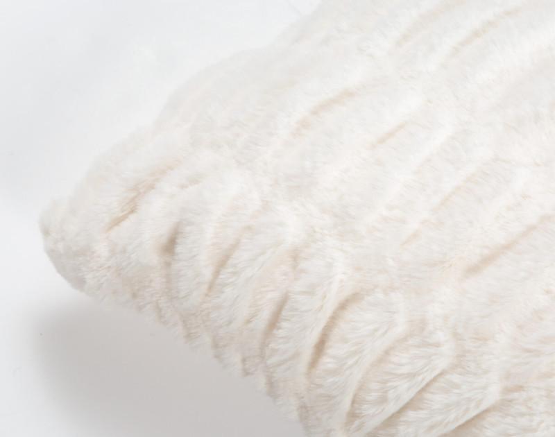 Carved Faux Fur Euro Sham in Snow, a soft white, corner close-up