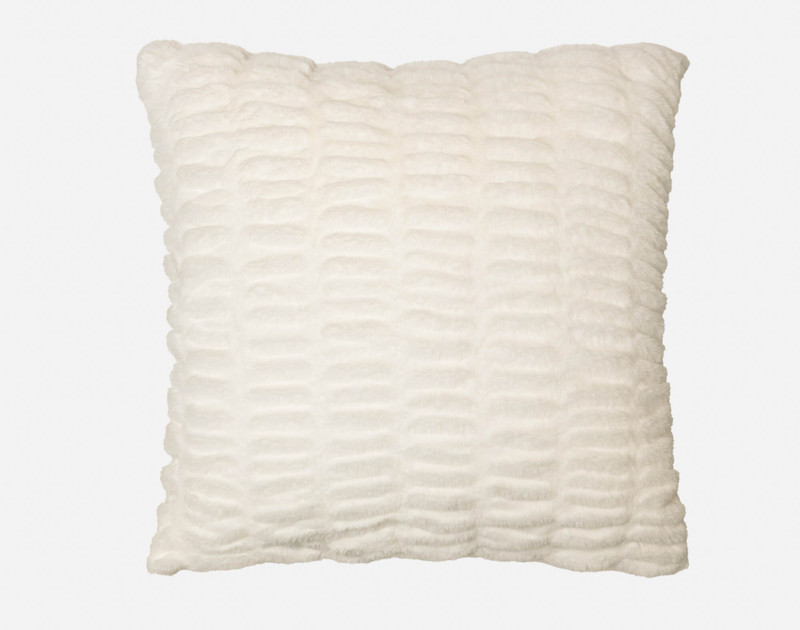 Carved Faux Fur Euro Sham in Snow, a soft white