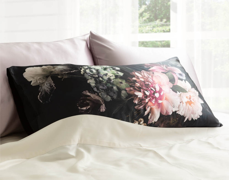 100% Mulberry Silk Pillowcase in Midnight Floral, a luxe floral print on a black background.