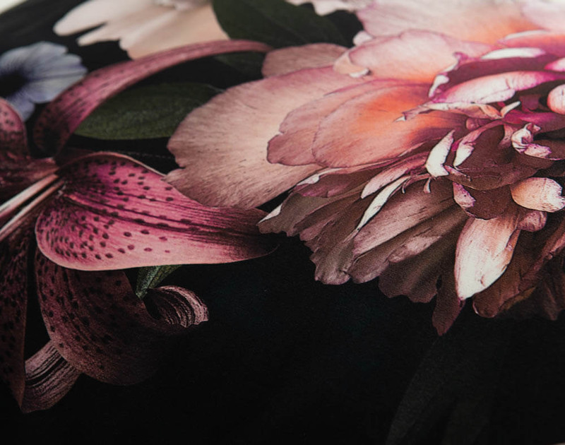 Close up of floral print on 100% Mulberry Silk Pillowcase in Midnight Floral.