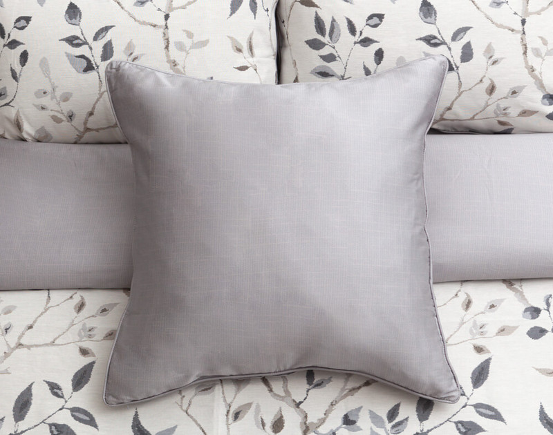 Brentwood Euro Sham features a barely there light grey print on a medium grey background.