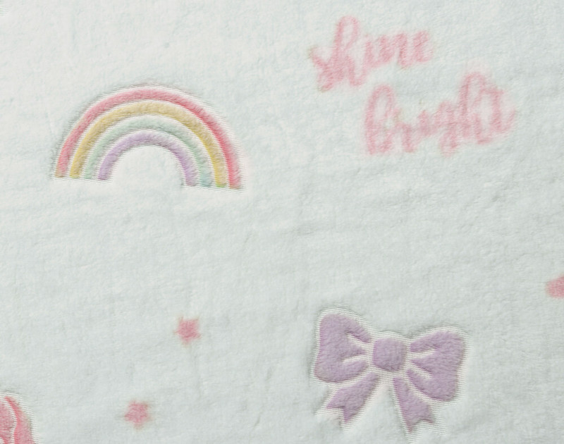 Close up of print on Shine Bright Glow in the Dark Throw.