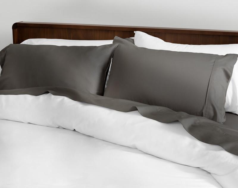 Cotton Sateen Sheet Set in Grey.