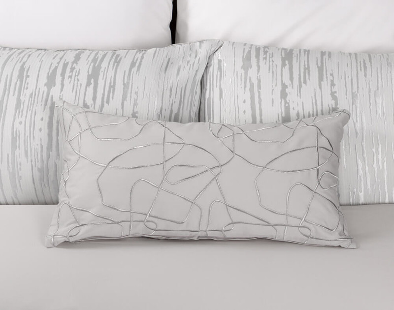 Cloudburst Boudoir Cushion Cover pictured with Eucalyptus Luxe Sheet Set in White.