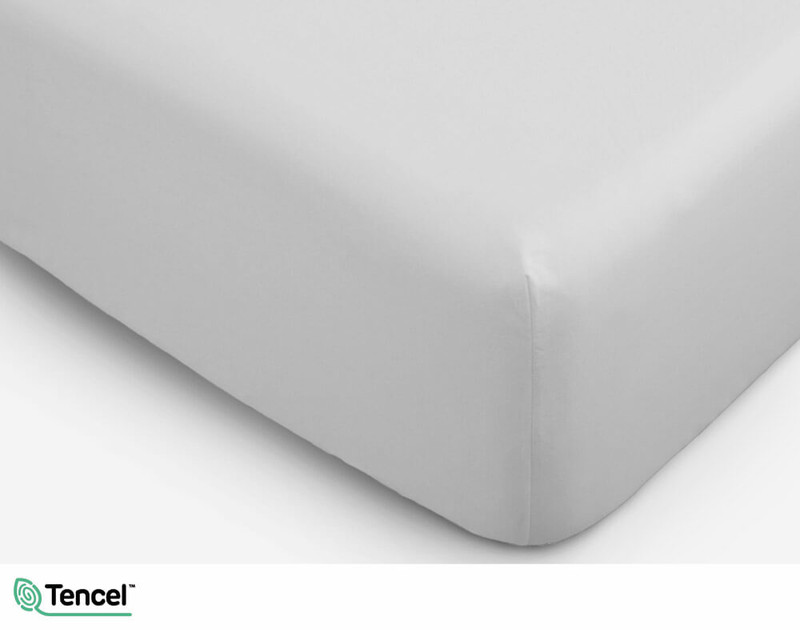 300TC TENCEL™ Lyocell Blend Fitted Sheet in Mist, a light silver grey colour