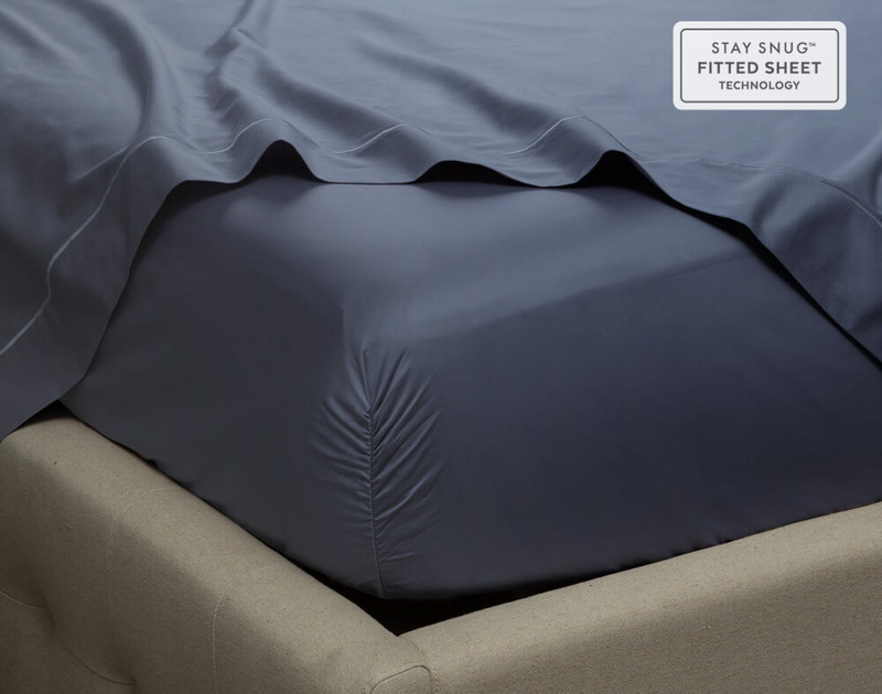Close up of corner on Supima® Cotton Sheet Sets in Sapphire Blue.