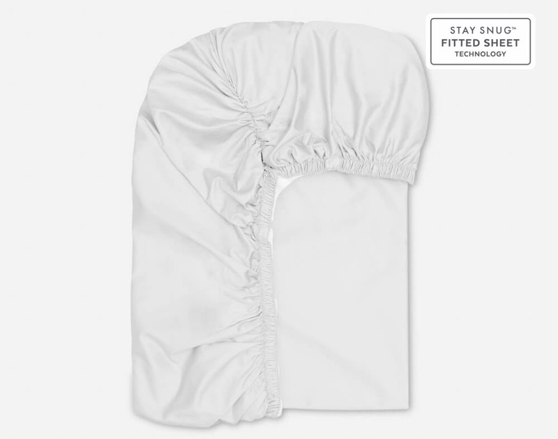 Elastic fitting on Supima® Cotton Sheet Sets in White.