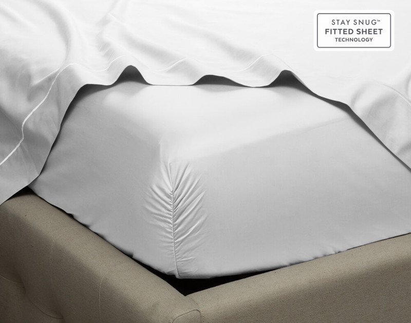 Close up of corner on Supima® Cotton Sheet Sets  in White.