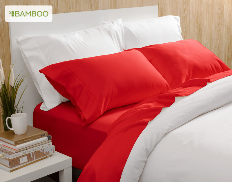 Bamboo Cotton Sheeting in Tango Red