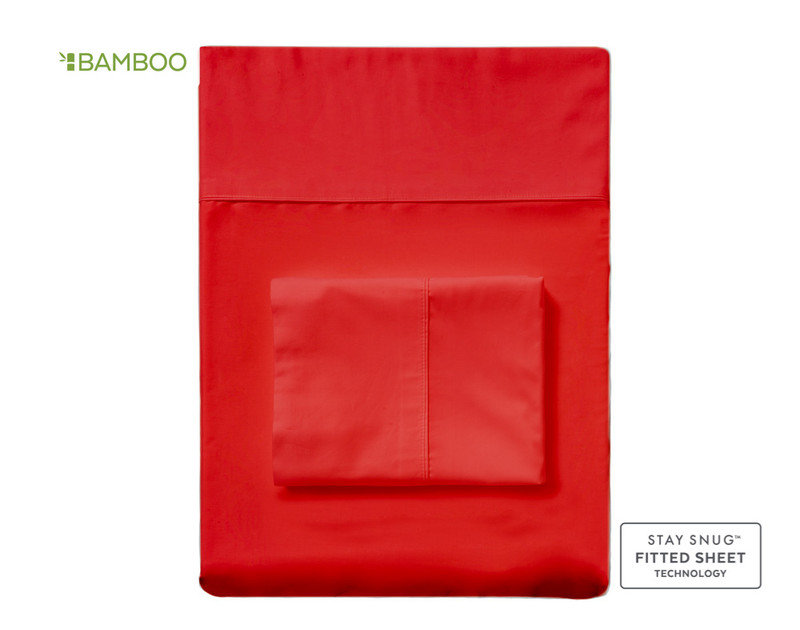 Bamboo Cotton Fitted Sheet - Tango Red