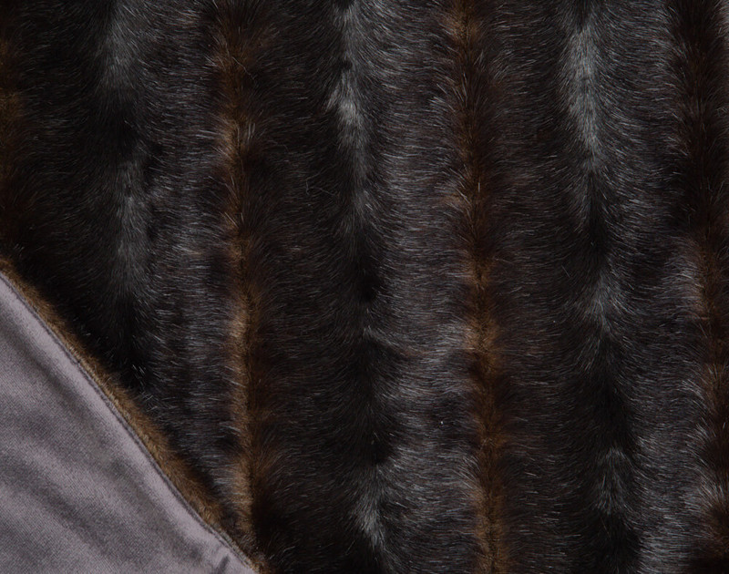 Faux Fur Throw in Wolverine texture on main side and reverse close-up