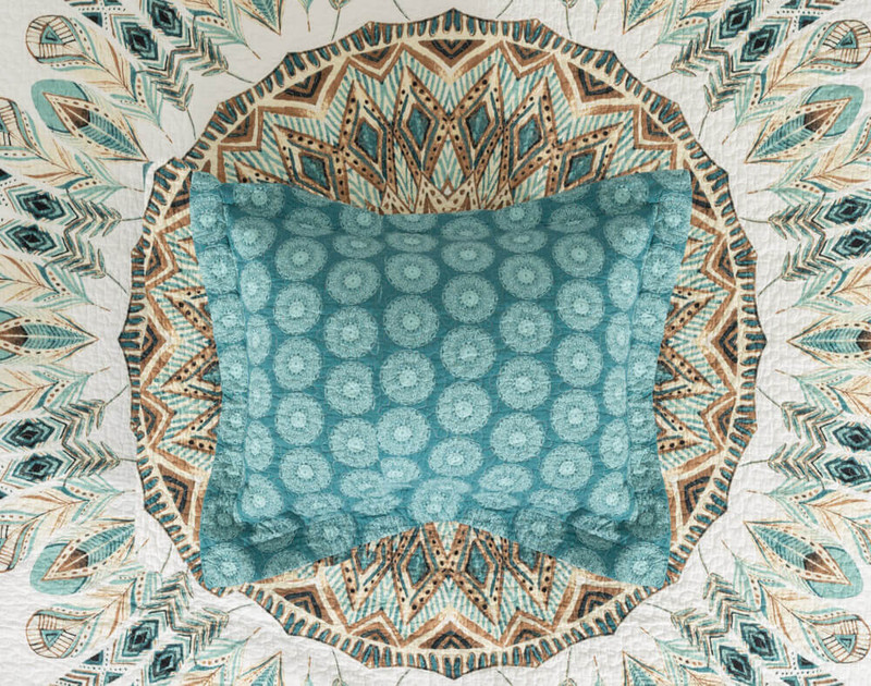 Mantra Cotton Pillow Sham, featuring an white circle print on teal background.