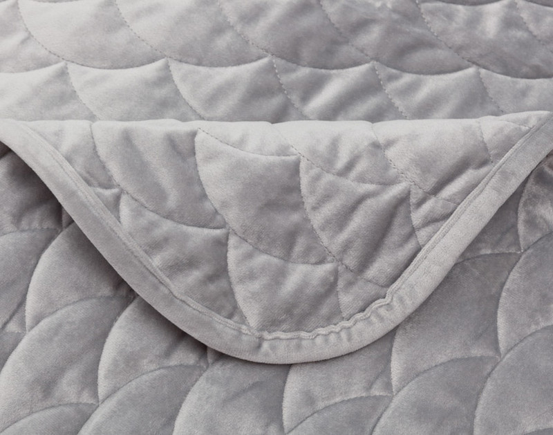 Calme Weighted Quilt Set scale pattern and hem close-up.