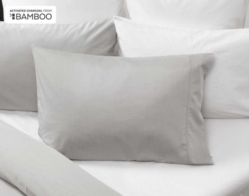 Bamboo Cotton Pillowcases with Activated Charcoal in a light grey colour.