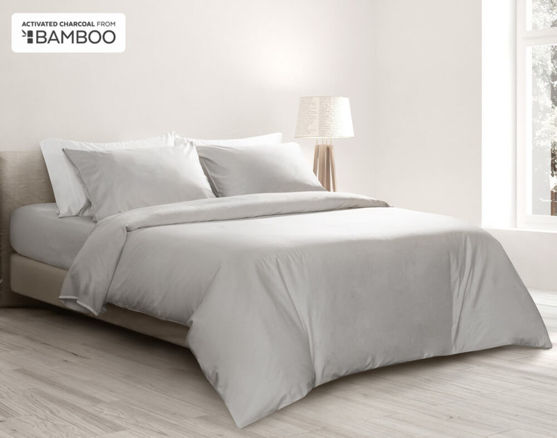Bamboo Cotton Duvet Cover with Activated Charcoal in a light grey colour.