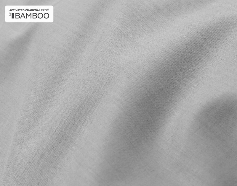 Close-up of Charcoal Bamboo Cotton Duvet Cover.