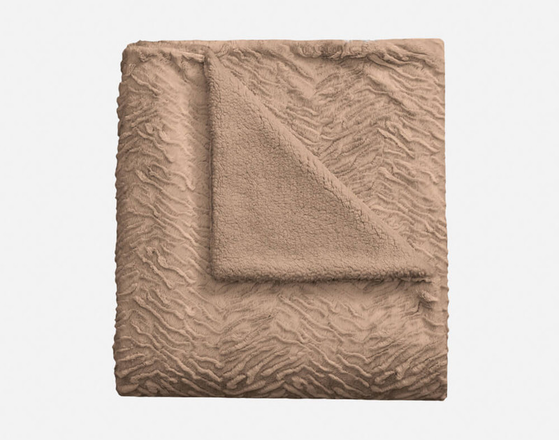 Folded view of Rabbit Plush Throw in Taupe.