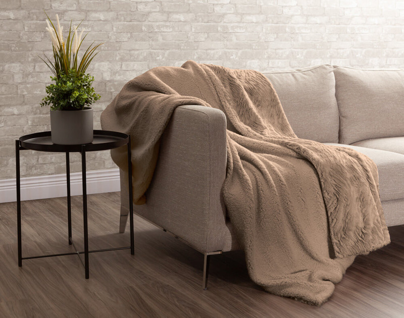 Faux Rabbit Plush Throw sherpa reverse in Taupe.
