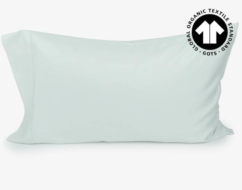 300TC Organic Cotton Pillowcases in Seaglass, a blue green