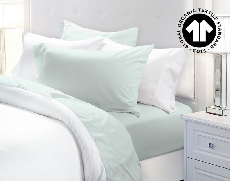 300TC Organic Cotton Sheet Set in Seaglass, a blue green