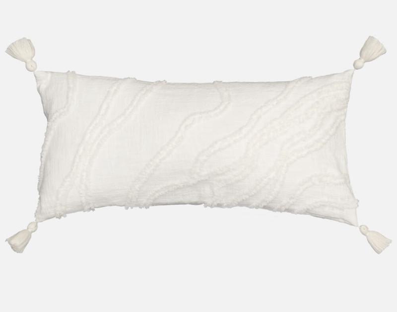 Mimeo White Textured Boudoir Pillow Cover