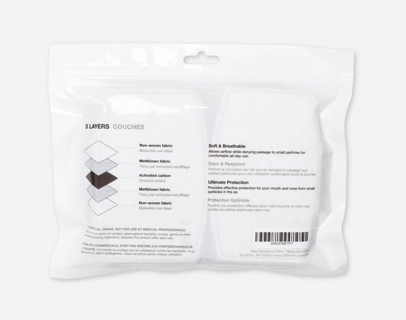 PM2.5 Face Mask Replacement Filters, reverse of pack
