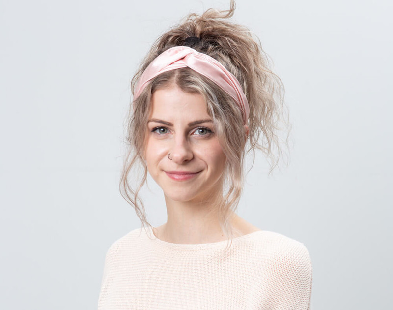 100% Silk Twist Headband in Blush, front view.