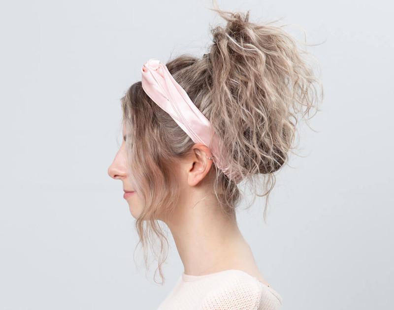 100% Silk Twist Headband in Blush, side view.