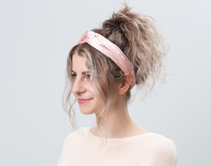100% Silk Twist Headband in Blush, angle view.