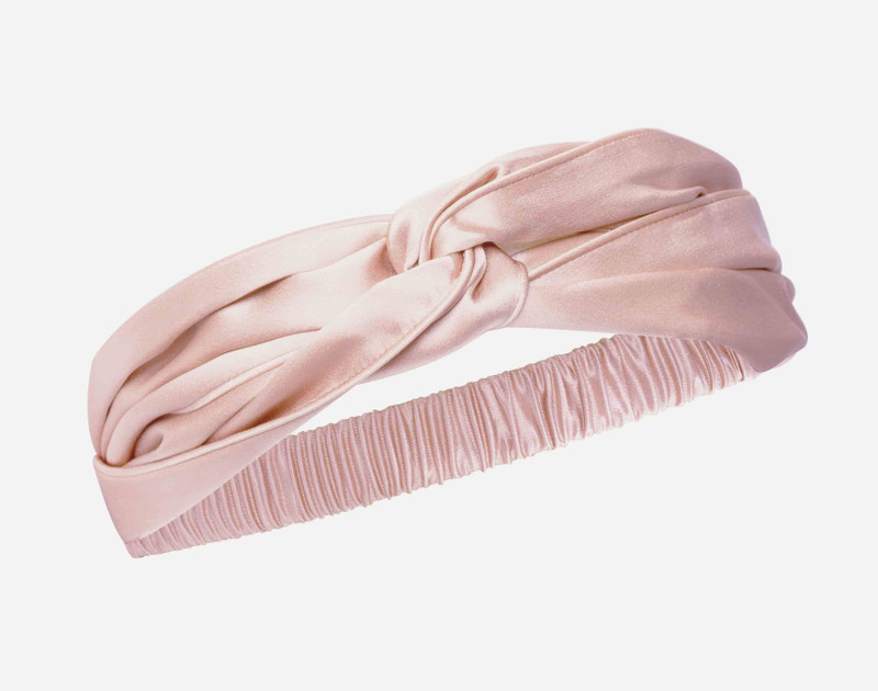 100% Silk Twist Headband in Blush.