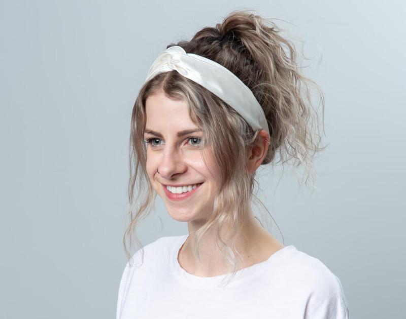 100% Silk Twist Headband in White, angle view.