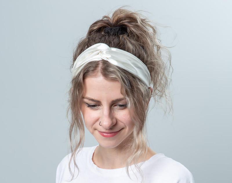 100% Silk Twist Headband in White, top view.