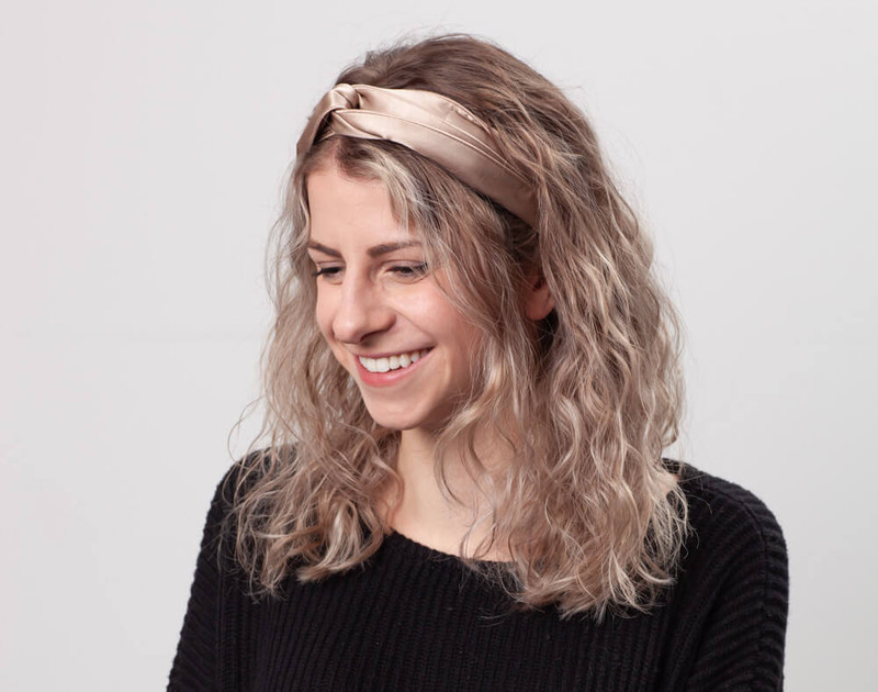 100% Silk Twist Headband in Bronze, angle view.