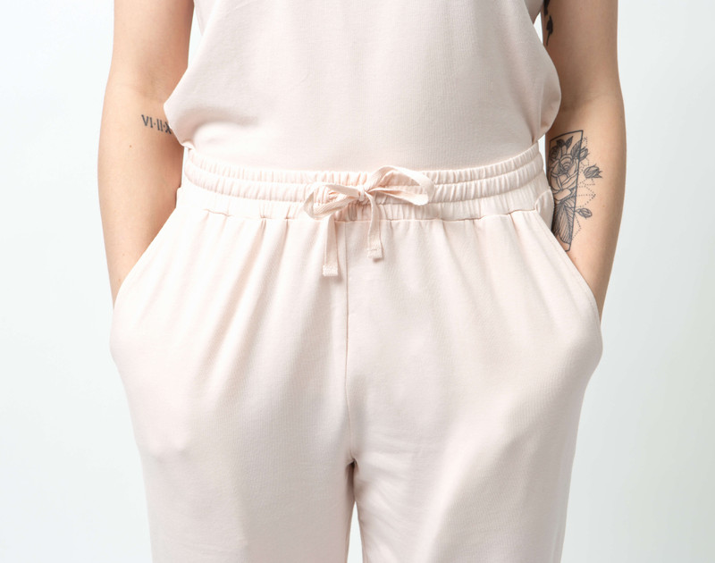 Drawstring close-up of Modal Jersey Lounge Pants in Ballet Pink on model