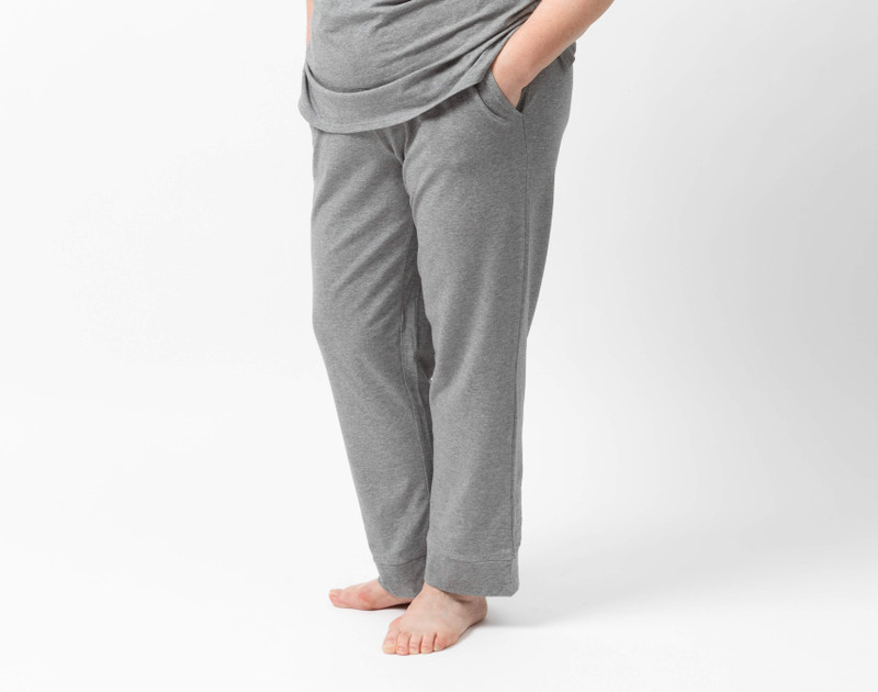 Coordinating Modal Jersey Pants in Heathered Grey on model