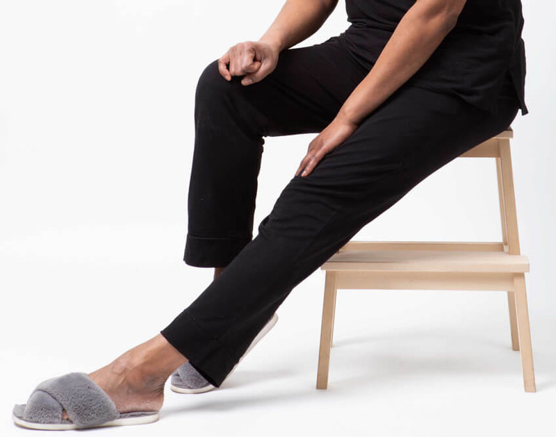 Modal Jersey Lounge Pants in Black featured with Faux Rabbit Plush Slippers in Graphite