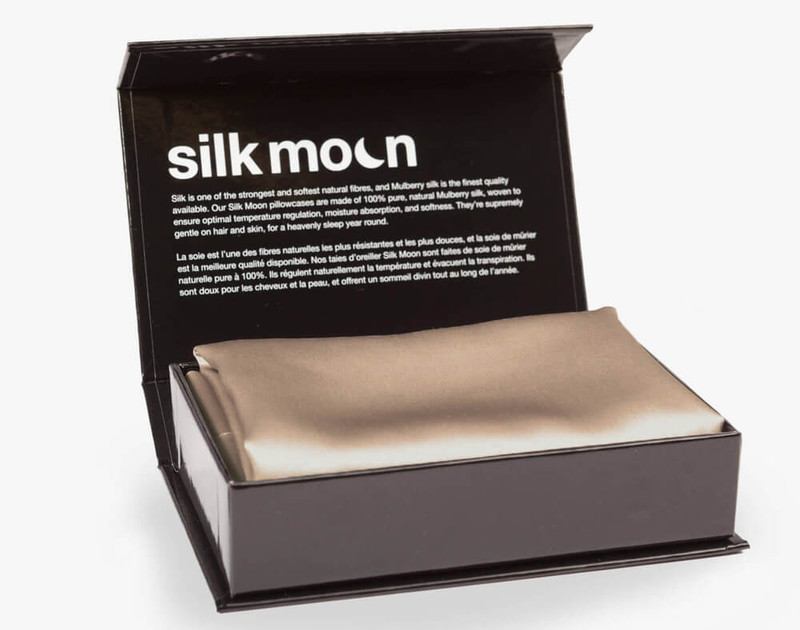100% Mulberry Silk Pillowcase in Bronze, shown in packaging.