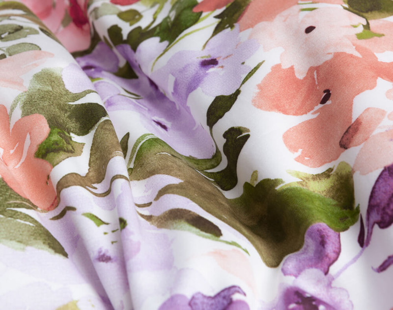 Close up of floral print on Calypso Duvet Cover.