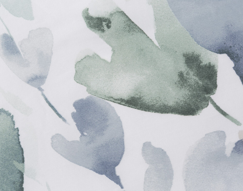 Close up of handpainted blue and green florals.