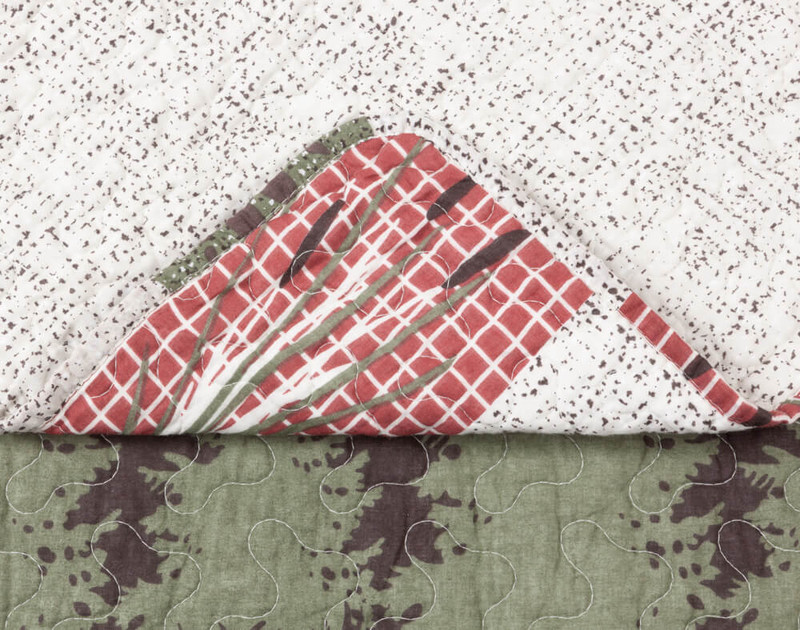 Close up of corner on Back Country Cotton Quilt Set.