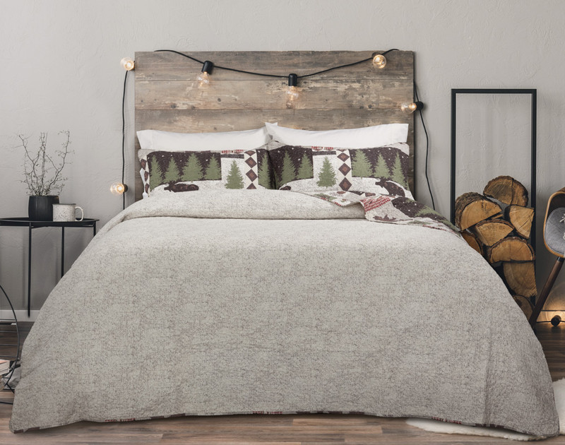 Back Country Cotton Quilt Set reverses to a heathered taupe.