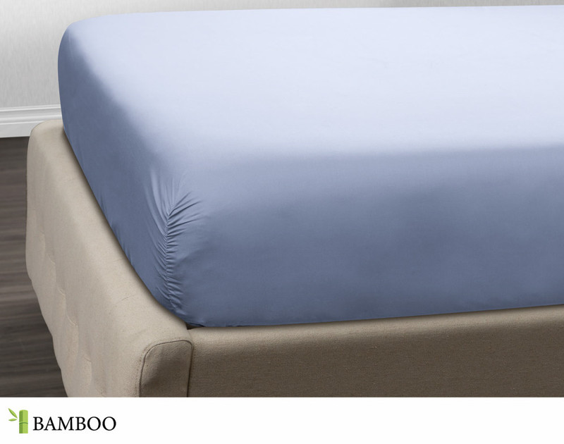 Bamboo Cotton Fitted Sheet in Marina Blue, a light blue.