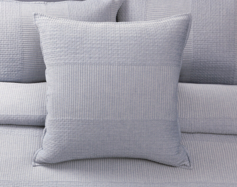 Santos Euro Shams come in a blue-grey and are finished with a narrow self-flange.